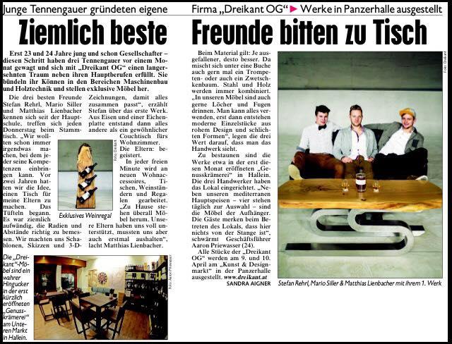 """Erster Bericht in der """"Kronen Zeitung"""""""